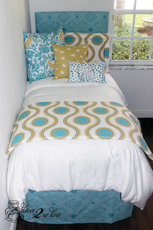 Coastal Blue & Saffron Yellow Dorm Bedding Set