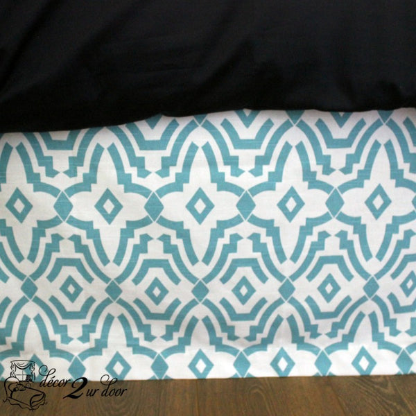 Coastal Blue Chevelle Designer Dorm Bed Skirt