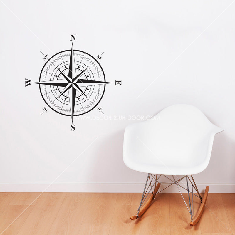 Compass Rose Vinyl Wall Decal