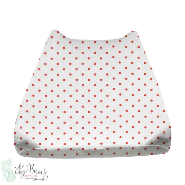 White & Coral Polka Dots Baby Changing Pad Cover