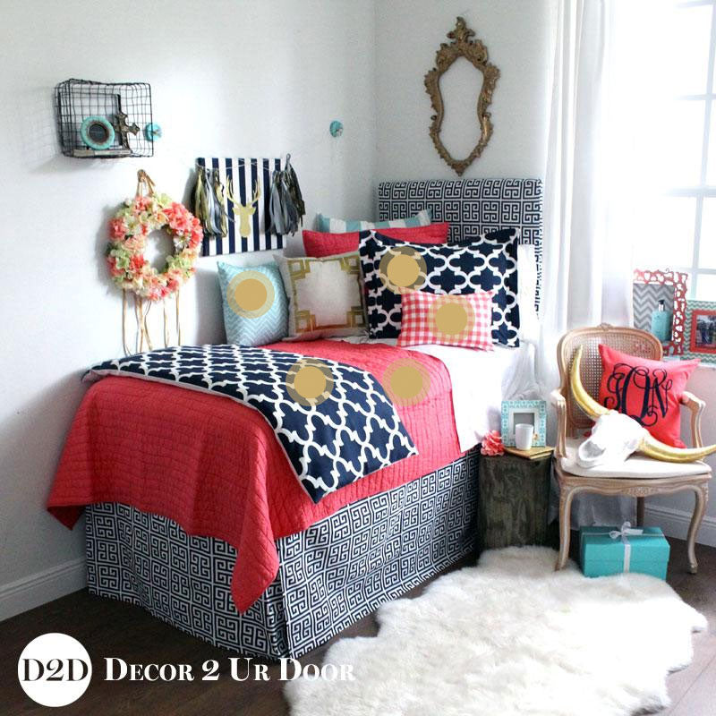 Coral Quilt & Navy Dorm Bedding Set