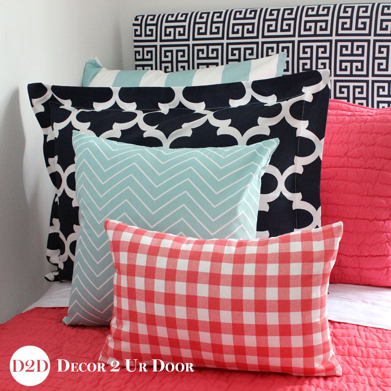 Coral, Navy & Canal Blue Pillow Pile