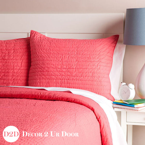 Solid Coral Quilted Sham