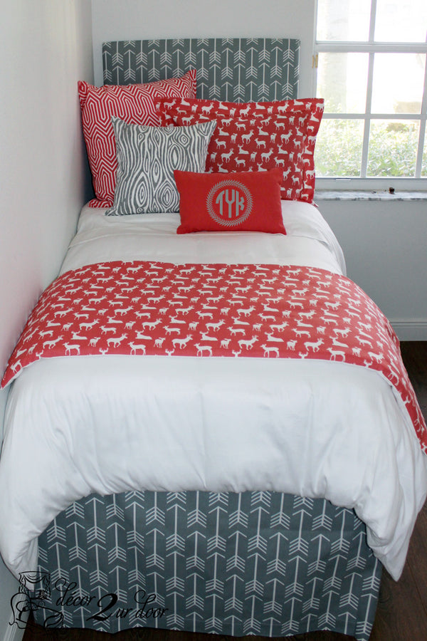 Coral Deer Woodland Dorm Bedding Set