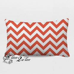Coral Chevron Designer Lumbar Pillow Cover