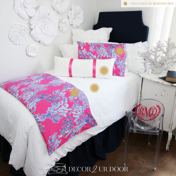 Lilly Coral Print Dorm Bedding Set