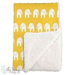 Yellow Elephants Sherpa Baby Blanket