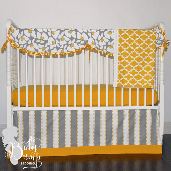 Yellow and Grey Flower Gender Neutral Baby Crib Bedding Set