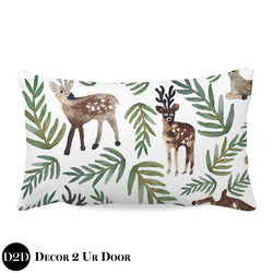 Watercolor Woodland Deer Lumbar Nursery Throw Pillow Cover