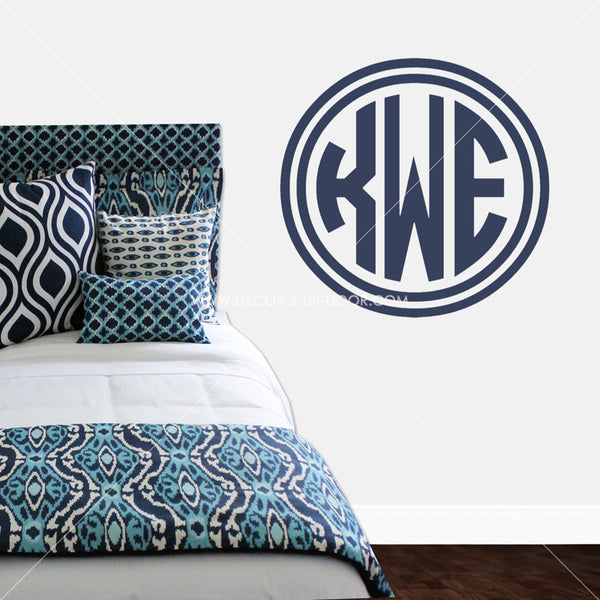Double Circle Border Monogram Personalized Vinyl Wall Decal