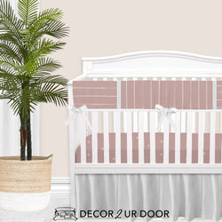 Dusty Pink Bone Stripes Baby Girl Crib Bedding Set
