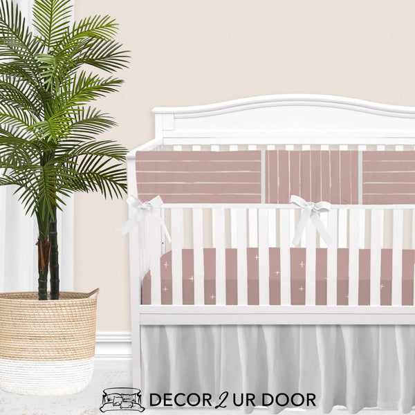 Dusty Pink Bone Stripes Baby Crib Rail Cover