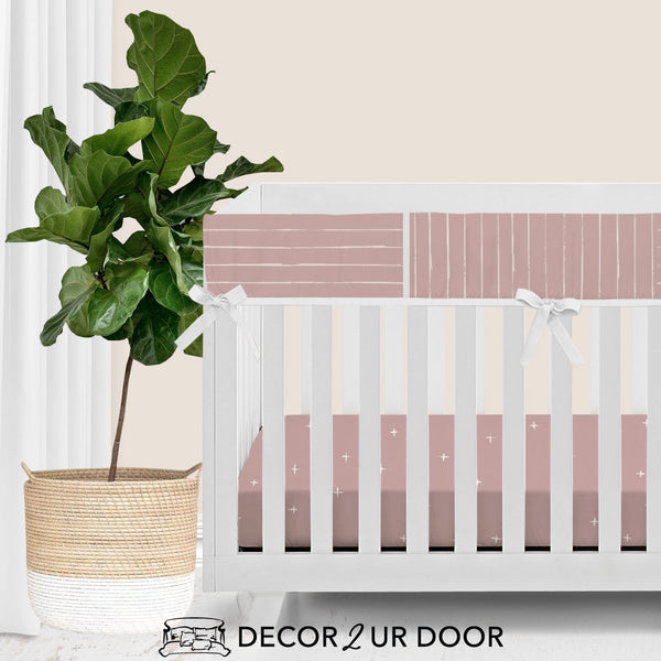 Dusty Pink Bone Stripes Bumperless Crib Bedding Set