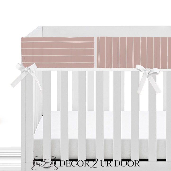Dusty Pink Bone Stripes 2-in-1 Crib Bumper/Rail Cover