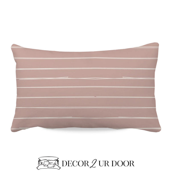 Dusty Pink Bone Stripes Lumbar Nursery Throw Pillow Cover
