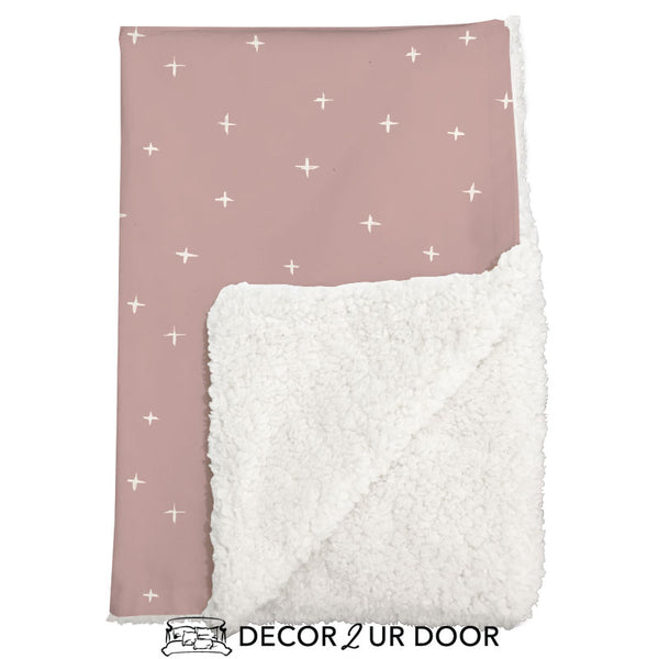 Dusty Pink Swiss Cross Sherpa Baby Blanket