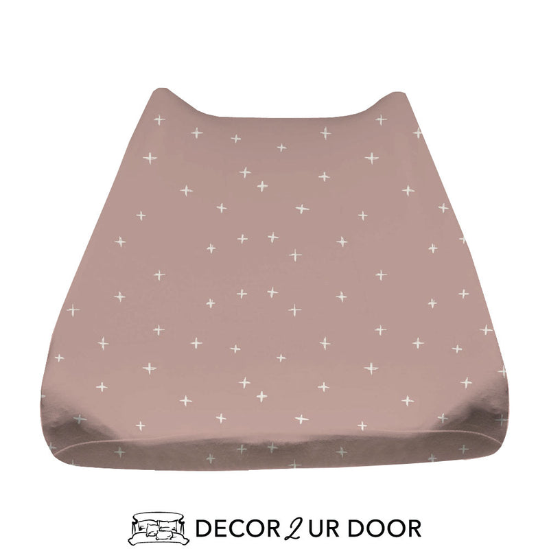 Dusty Pink Swiss Cross Baby Changing Pad Cover
