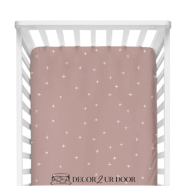 Dusty Pink Swiss Cross Fitted Crib Sheet