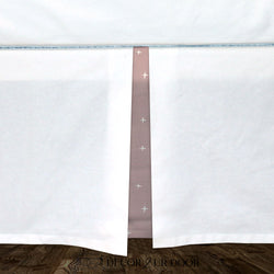 White & Dusty Pink Swiss Cross Baby Crib Skirt