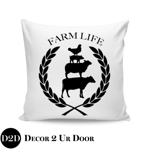 Farm Life Farmhouse Square Throw Pillow Cover