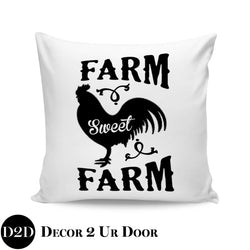 Farm Sweet Farm Farmhouse Square Throw Pillow Cover