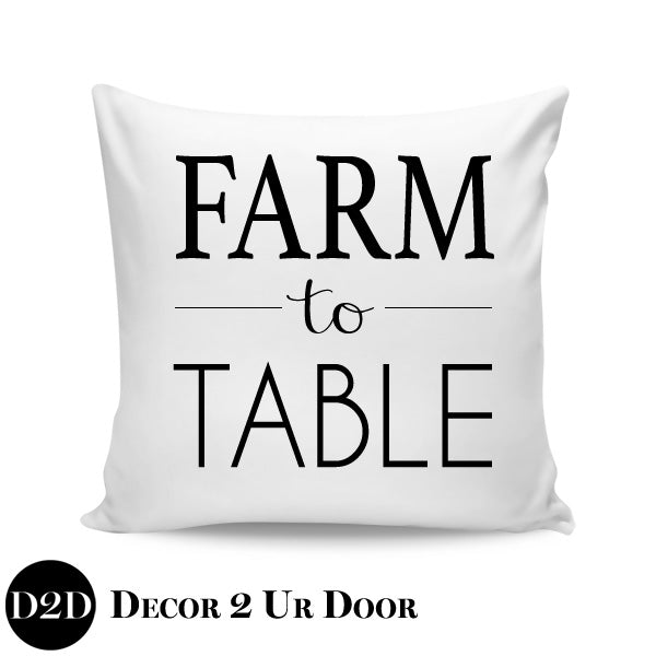 Farm to Table Farmhouse Square Throw Pillow Cover