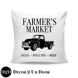 Farmers Market Truck Farmhouse Square Throw Pillow Cover