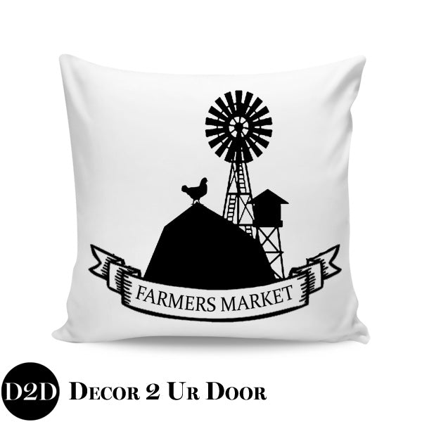 Farmers Market Farmhouse Square Throw Pillow Cover