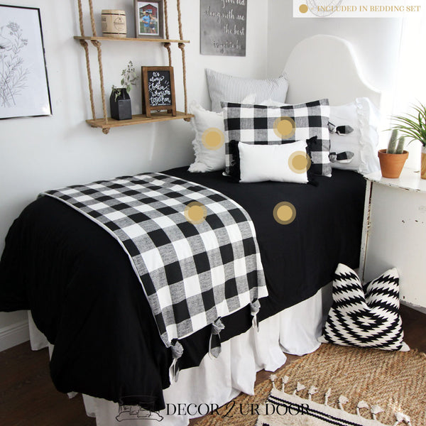 Farmhouse Black White Gingham Dorm Bedding Set