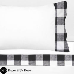 Black & White Gingham Plaid 100% Cotton Banded Sheet Set
