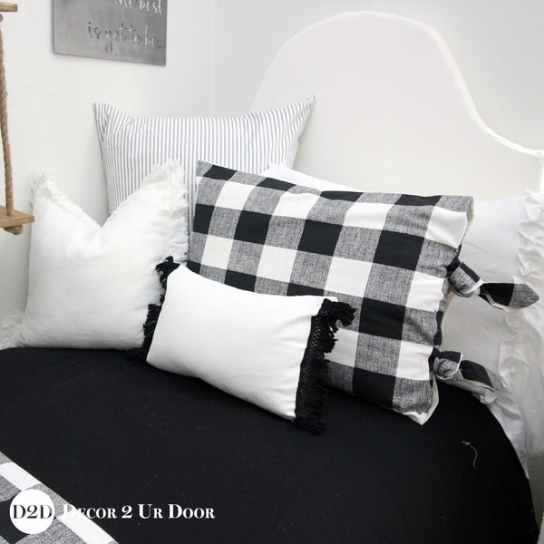Farmhouse Black & White Gingham Plaid Pillow Pile