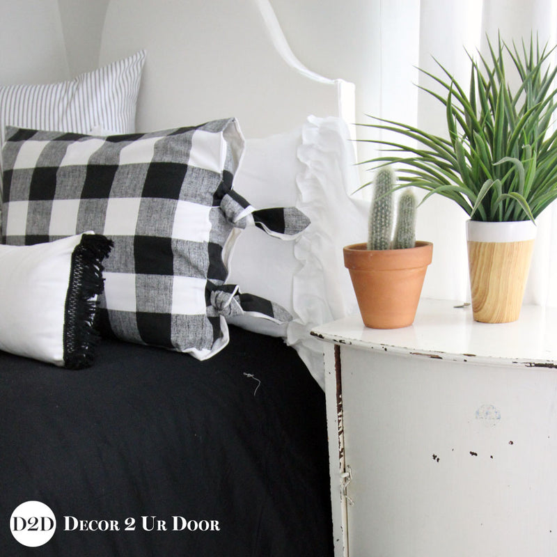 Farmhouse Black & White Gingham Plaid Designer Bedding Collection