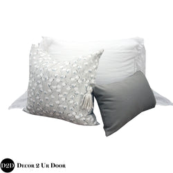 Grey Cotton Plant Print Pillow Pile
