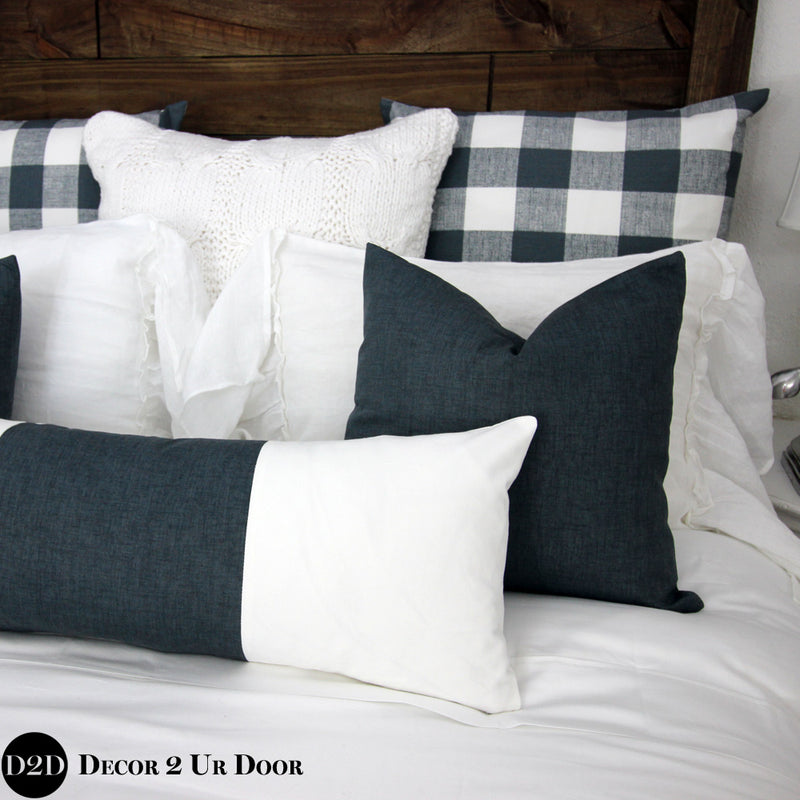 Gunmetal & White Two-Tone Long Lumbar Pillow Cover