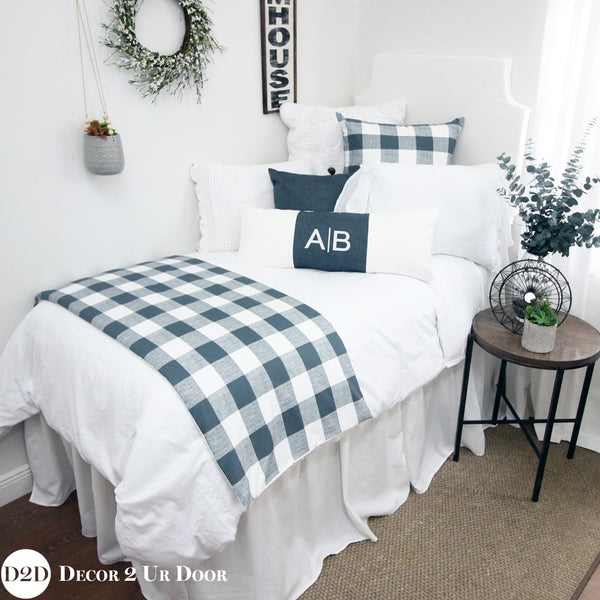 Farmhouse Gunmetal Gingham Plaid Designer Bedding Collection