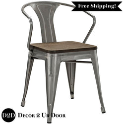 Farmhouse Metal Arm Chair with Bamboo Seat