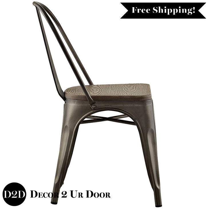 Farmhouse Metal Side Chair with Bamboo Seat