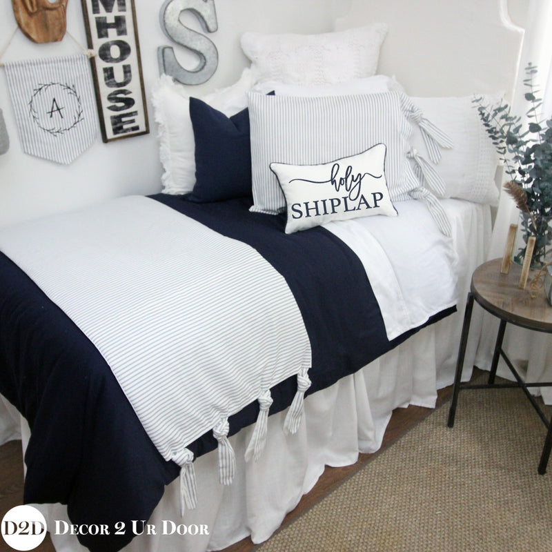 Solid Navy Duvet Cover and Sham Set