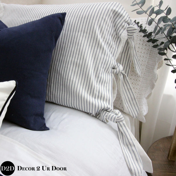 Farmhouse Navy & White Ticking Stripe & Ties Pillow Pile