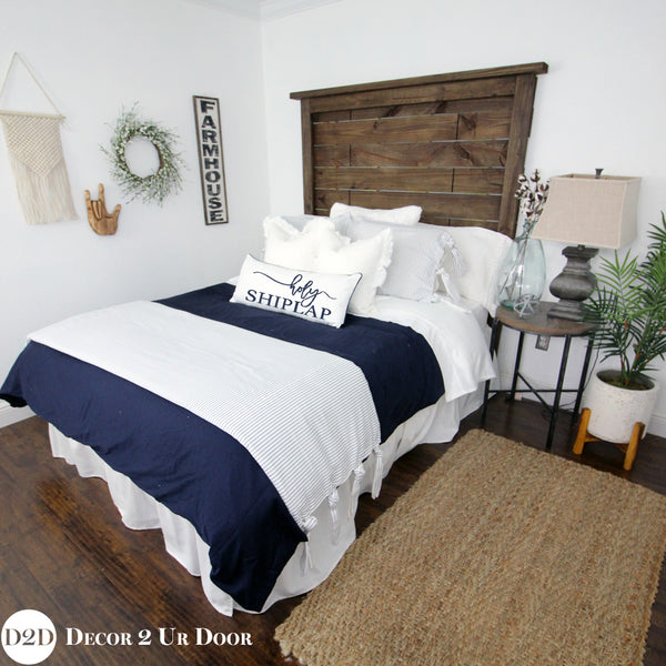 Farmhouse Navy & White Ticking Stripe & Ties Designer Bedding Collection
