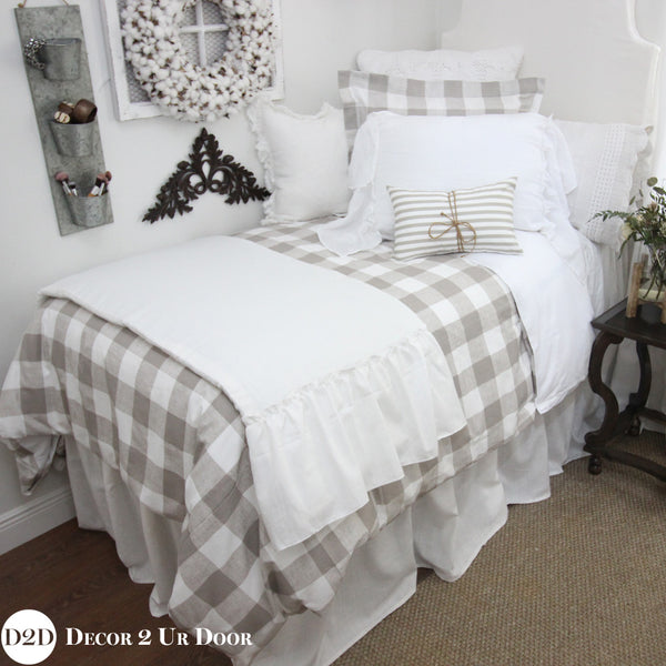 Farmhouse Tan Gingham Check Plaid Duvet Cover