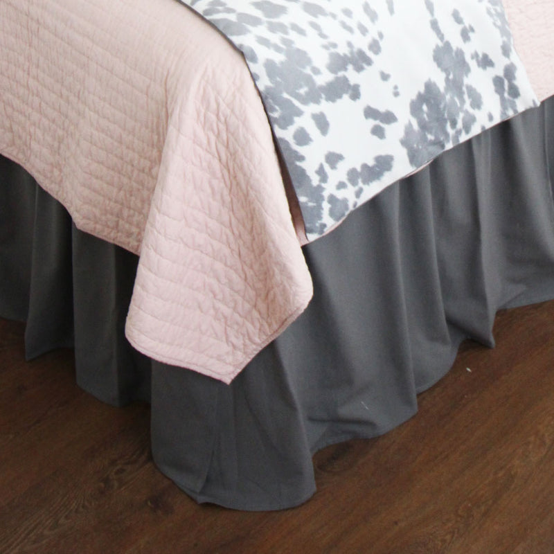 Flamingo Grey Dorm Bed Skirt & Headboard Bundle