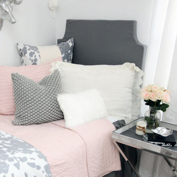 Flamingo Grey Padded Fabric Headboard