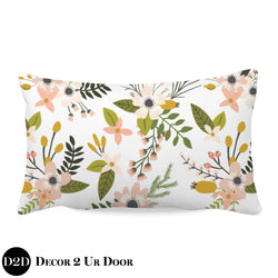 Boho Floral Woodland Lumbar Nursery Throw Pillow Cover