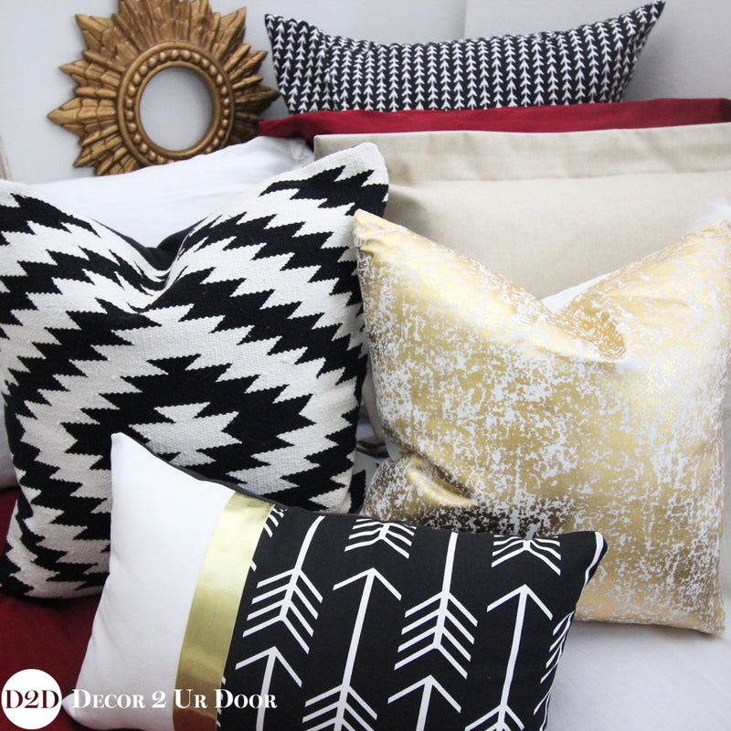 Black & White Aztec Tribal Kilim Square Pillow Cover