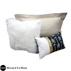 Gold, Black & Faux Fur Pillow Pile