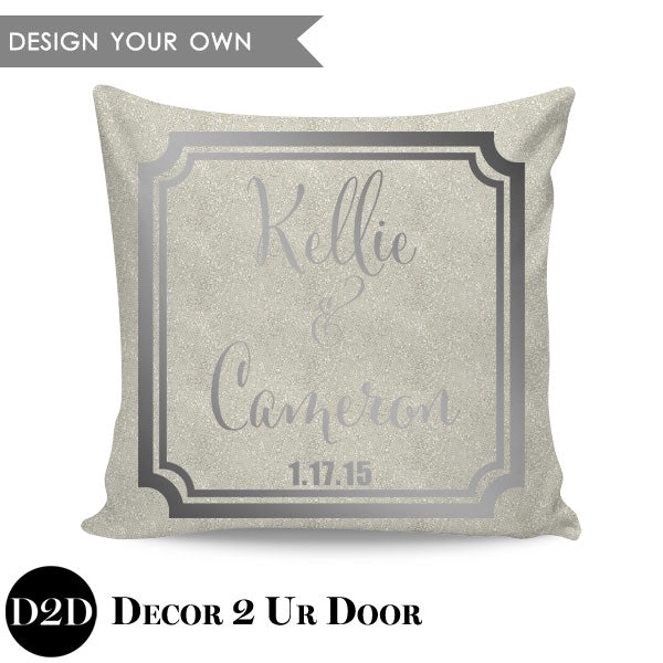 Bride & Groom Names Square Throw Pillow Cover