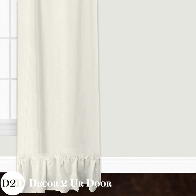 Ivory Linen Ruffled Closet + Window Curtain