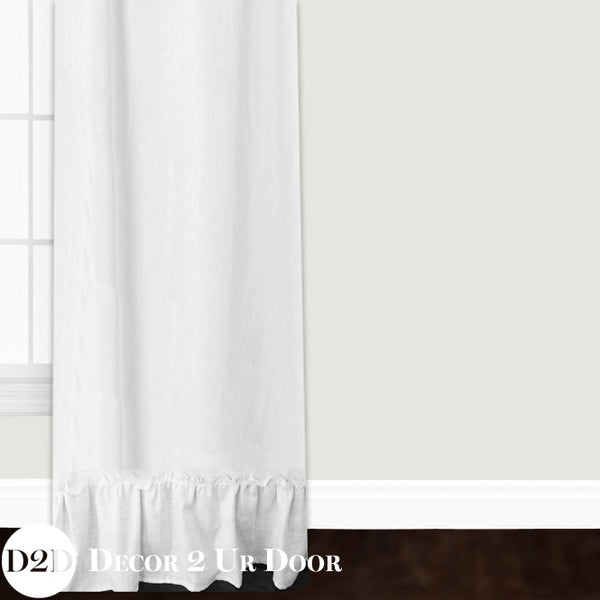 Frilly White Ruffled Custom Window Curtain/Closet Panel
