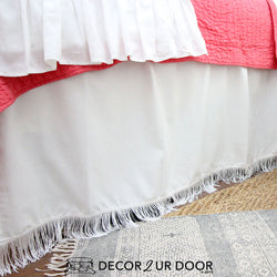 "White Fringe 15"" Drop Bed Skirt"